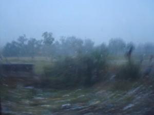 Blick aus dem Zugfenster in den Regen