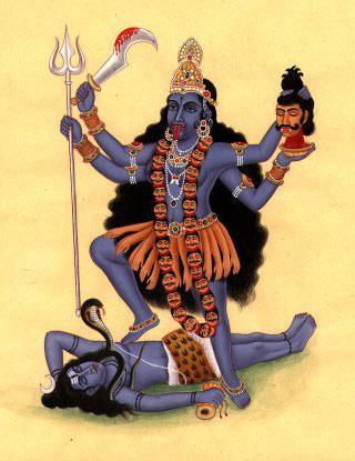 Kali (Die Schwarze), Göttin des Todes, der Zerstörung und ERNEUERUNG